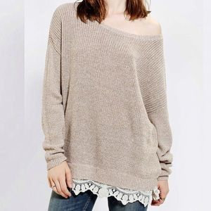 Pins & Needles Lace Crochet Trim Sweater